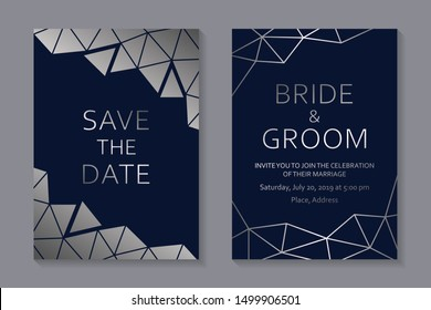 Set of modern geometric luxury wedding invitation design or card templates for business or presentation or greeting with silver polygonal lines on a navy blue background.
