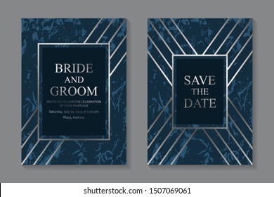 Set of modern geometric luxury wedding invitation design or card templates for business or presentation or greeting with silver lines on a navy blue marble background.