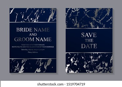 Set of modern geometric luxury wedding invitation design or card templates for business or presentation or greeting with silver marble texture or paint splashes on a navy blue background.