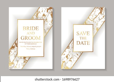Set of modern geometric luxury wedding invitation design or card templates for business or presentation or greeting with golden marble stripes on a white background.