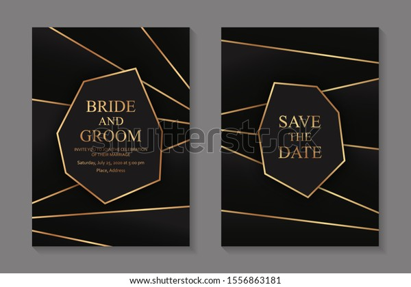 Set Modern Geometric Luxury Wedding Invitation Stock Vector ...