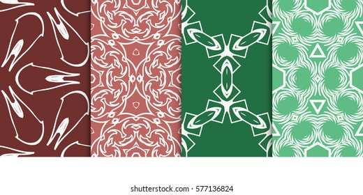 set of modern geometric pattern. seamless floral ornament. vector illustration. for design, wallpaper, textile, fabric
