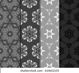 set of modern geometric pattern of small square and triangular elements. vector illustration