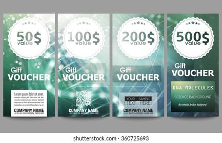 Set of modern gift voucher templates. DNA molecule structure on dark green background. Science vector background.