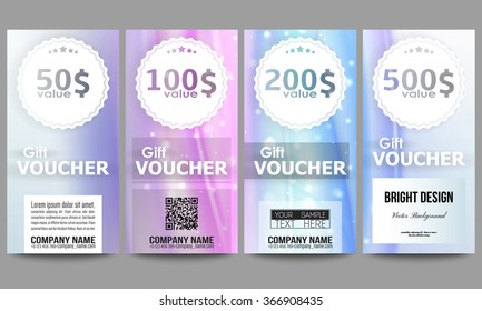 Set of modern gift voucher templates. Abstract wave vector background.
