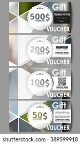 Set of modern gift voucher templates. Abstract multicolored background of blurred nature landscapes, geometric vector, triangular style illustration.