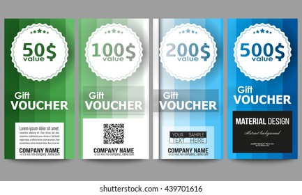 Set of modern gift voucher templates. Abstract colorful business background, blue and green colors, modern stylish striped vector texture for your cover design.