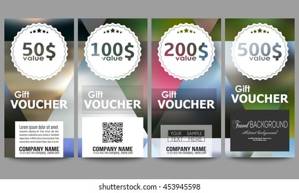 Set of modern gift voucher templates. Abstract multicolored background, blurred nature landscapes, geometric vector, triangular style illustration.