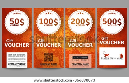 Set Modern Gift Voucher Templates Chinese Stock Vector Royalty Free