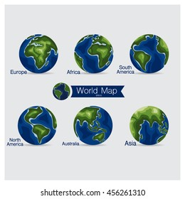 Set of modern Globe, vector illustration.