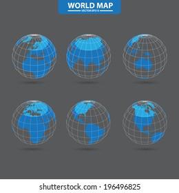 Set of modern globes