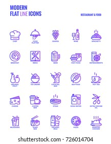 Set of Modern Gradient flat line Restaurant and Food icons suitable for mobile concepts, web application, printed media and infographics projects. Vector Illustration