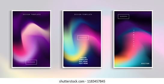 Set modern gradients in abstract aurora blurred background templates. Square blurred background - sky clouds. vector design.