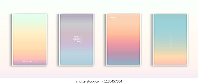 Set modern gradients in abstract sunset and sunrise sea blurred background templates. Square blurred background - sky clouds. vector design.