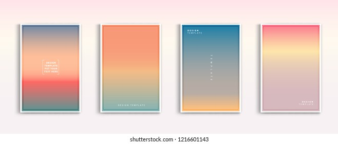 Set modern gradients in abstract sunset and sunrise sea blurred background templates. Square blurred background - sky clouds,nature. vector design.