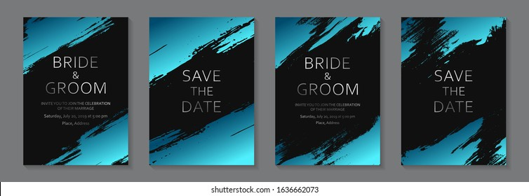 Set of modern grunge luxury wedding invitation design or card templates for business or poster or greeting with silver text and blue paint brush strokes on a black background.