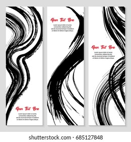 Set of modern grunge style banner. Stamp for calligraphy. Black ink brush stroke set vector illustration