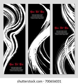 Set of modern grunge style banner. Stamp for calligraphy. Hand drawn brush stroke set vector illustration