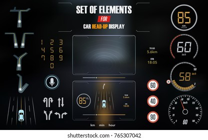 Set of modern head up display and elements for it. HUD interface. Vector Illustration.