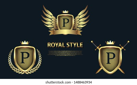 Set of modern heraldic shields with crowns and initial letter P isolated on black background. 3D letter monogram different shapes in golden style. Design elements for logo, label, emblem, sign, icon.