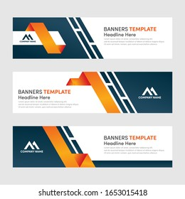 Set of modern horizontal banner design template