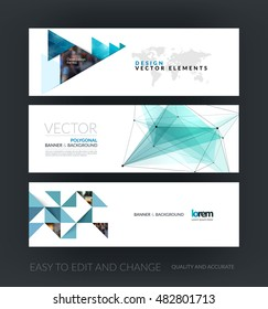 Set of modern horizontal website banners with green polygonal triangles, 3d mesh polygons, rounds, lines for business, technology and hi-tech. Web headers. Creative corporate vector for internet.