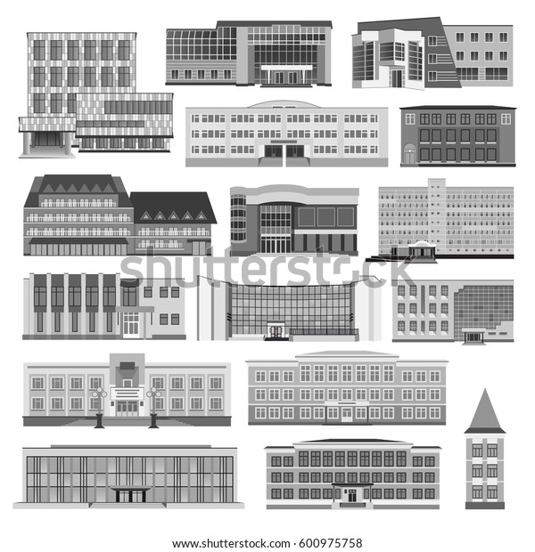 Set with modern houses, cottage and building flat. Vector illustration