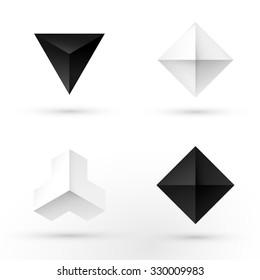 Set of modern icon design diamond shape elements. Best for identity and logotypes.