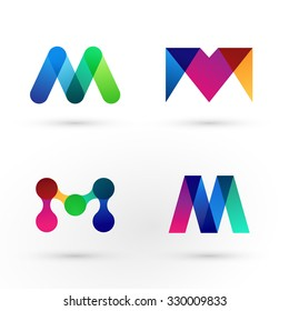 Set of modern icon design M shape elements. Best for identity and logotypes.