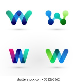 Set of modern icon design W letter shape elements. Best for identity and logotypes.