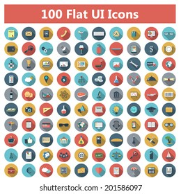 Set of modern icons in flat design with long shadows and trendy colors for banners, covers, corporate brochures, logos, mobile applications, business, social networks etc. Vector eps10 illustration