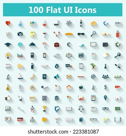 Set of modern icons in flat design with long shadows for banners, covers, brochures, logos, mobile applications. Vector eps10 illustration