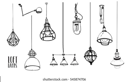 Set of modern isolated edison loft  lamps, vintage, retro style light bulbs. Hand drawn vector collection.