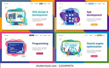 Set von modernen Landing Page Template für Programmierung, Webentwicklung, Suchmaschinenoptimierung. Vektorgrafik-Muster für Website und mobile Website