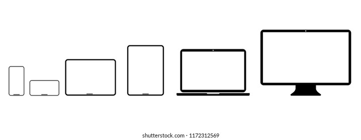 Set of modern layouts of electronic device, laptop, tablet, computer, smartphone isolated on white background. Vector object.