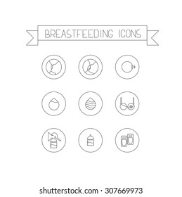 Set of modern linear icons of breastfeeding. Breast pads,bottle, breast pump,bottles, nursing cover, correct latch-on, incorrect latch-on, colostrum, breastfeeding bra, storage bag for you work.