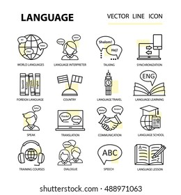 Set of modern linear icons on the topic of learning a foreign language. Vector logos for schools, colleges and universities.