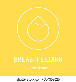 Set of modern linear illustration of breastfeeding. Breast milk drop, colostrum. Perfect for web, print, infographic or presentation. Breastfeeding icon and logotype