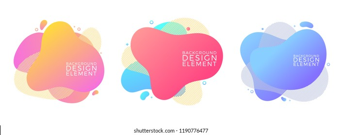 Set of modern liquid fluid abstract elements graphic gradient vector colored line banners shape template can use for logo, presentation, flyer, brochure
