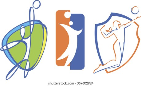 set of modern logos for volleyball