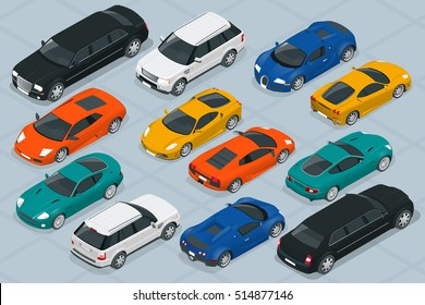 Set of Modern luxury cars icons. Vector Flat 3d isometric high quality city transport icon set.