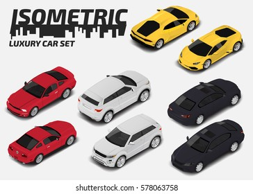 Set of Modern luxury cars. Vector isometric high quality city transport icon set.