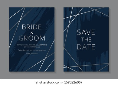 Set of modern luxury wedding invitation design or card templates for business or presentation or greeting with silver lines and paint brush strokes on a navy blue background.