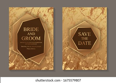 Set of modern luxury wedding invitation design or card templates for business or poster or greeting with golden marble background.
