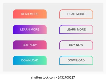Set of modern material style buttons. Different gradient colors. Modern vector illustration flat style.