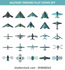 Set of modern military air drones and quadrocopters solated on white background. Flat cartoon vector illustration.