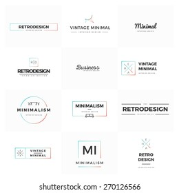 Set of modern and minimal vintage vector logos. Modern and minimalism syled vector logos for multiple use. Fresh ideas for brand identity work.