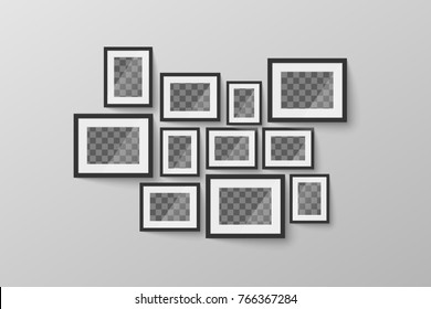 Set of modern minimalist black blank picture frame with transparent place for photo on gray wall
