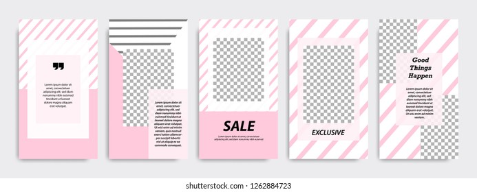 Set of modern minimalist pink stripe line in frame template at white background. Suitable for social media stories, story, roll banner, expandable banner, flyer and brochure.