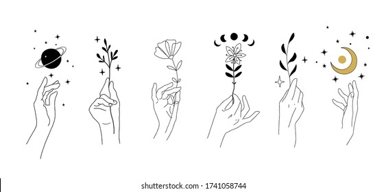 Set of modern minimalistic tattoos in boho design. Magical drawing of hands and flowers, plants, planets, moon. Modern elements for a wedding decor. Vector illustration